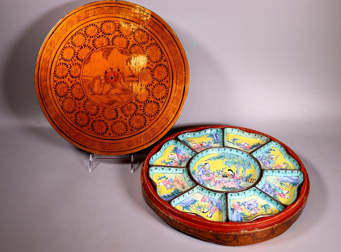 Chinese Canton Enamel Baxian Dinner Set & Box