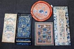 5 Early Chinese Embroidered Silks & Borders