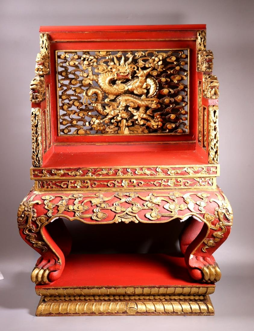 Chinese Red & Gold Lacquered Carved Wood Chair