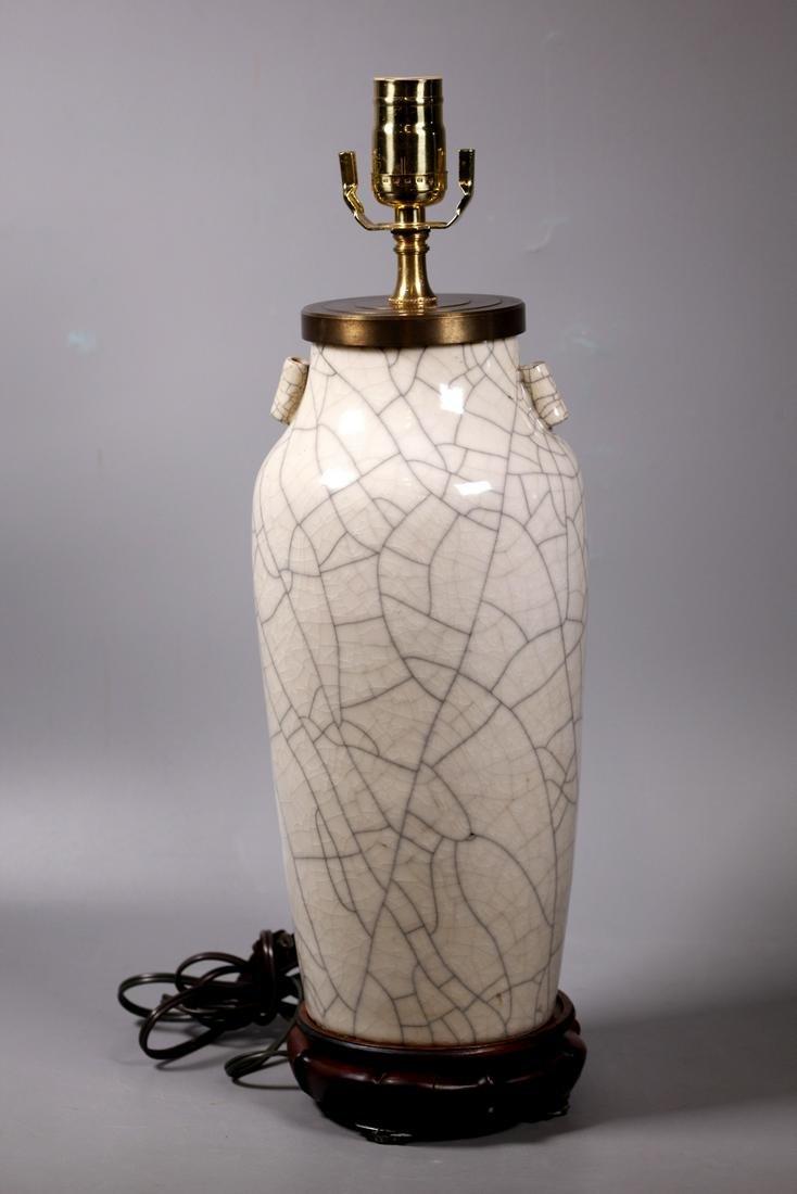 Large Chinese Crackle Glazed Cream Porcelain Vase
