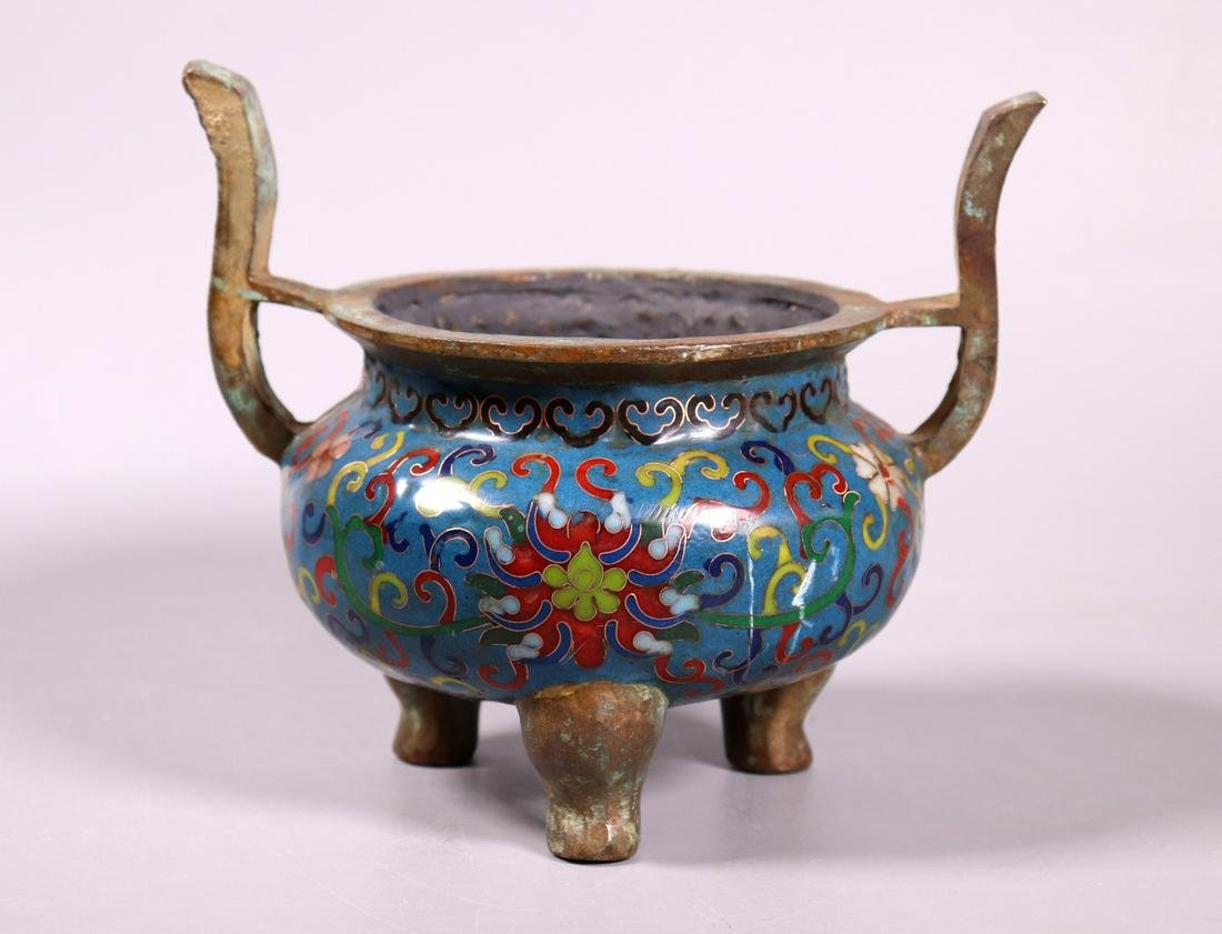 Chinese Cloisonne on Bronze Incense Burner