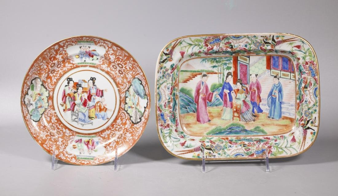 Chinese 19 C Famille Rose Porcelain Plate & Tray