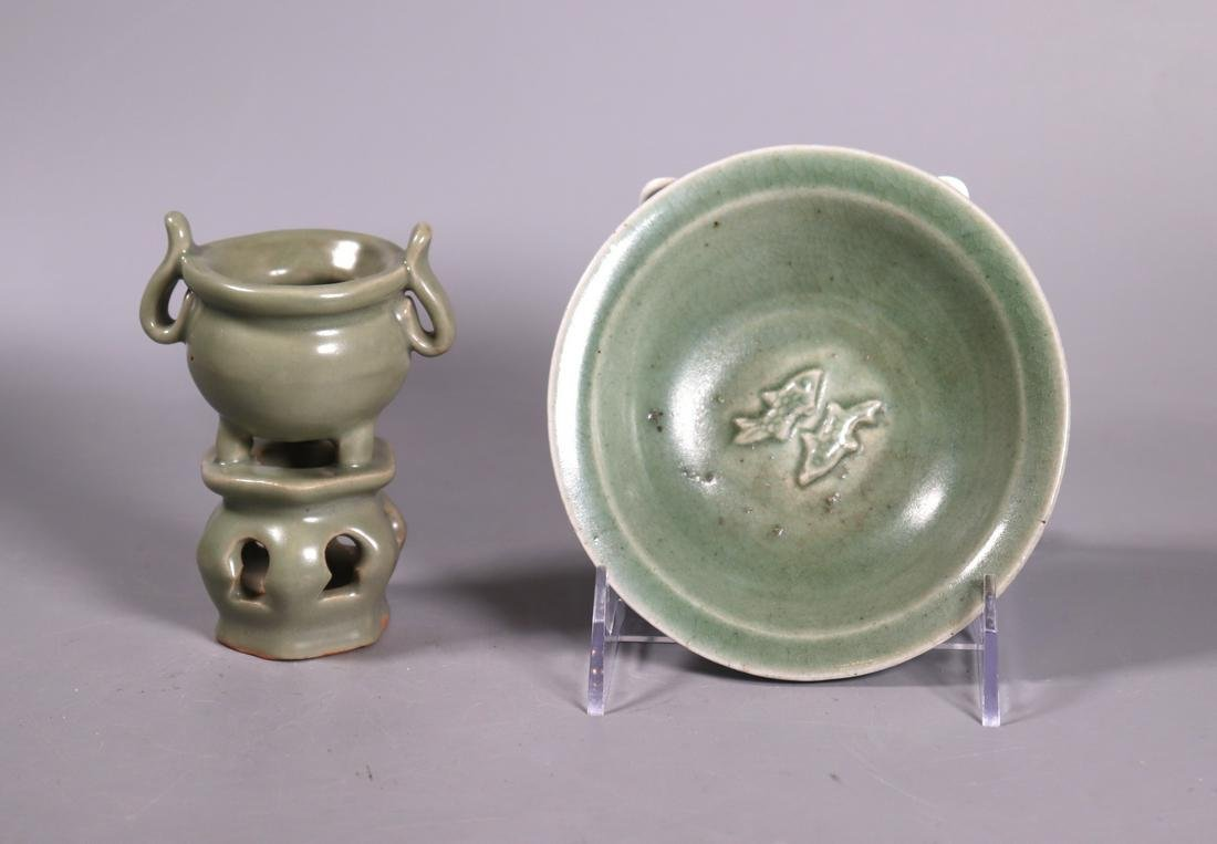 Two Chinese Longquan Celadon Porcelains