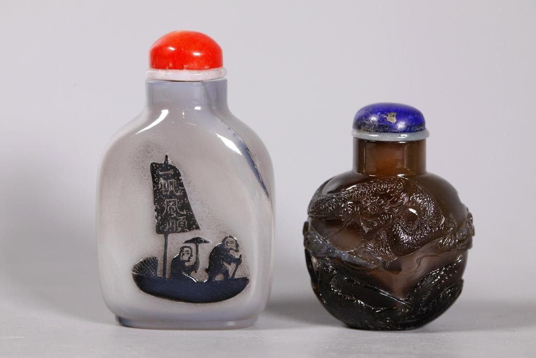 Chinese 19 C Carved Agate; Silhouette Snuff Bottle