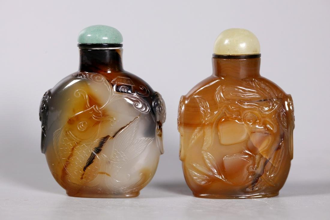 2 Chinese 19 Century Carved Agate Snuff Bottles