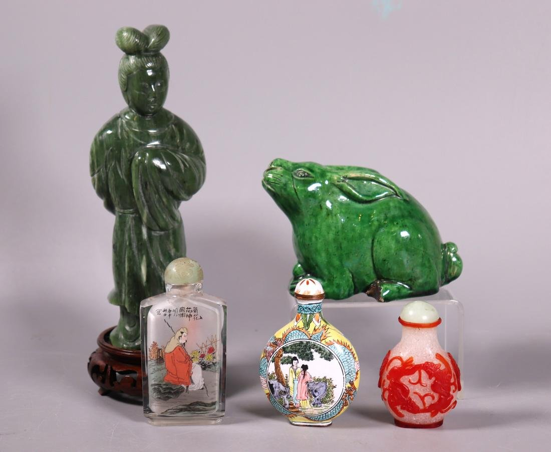 Chinese Group Hardstone Figure, 3 Snuff, Rabbit