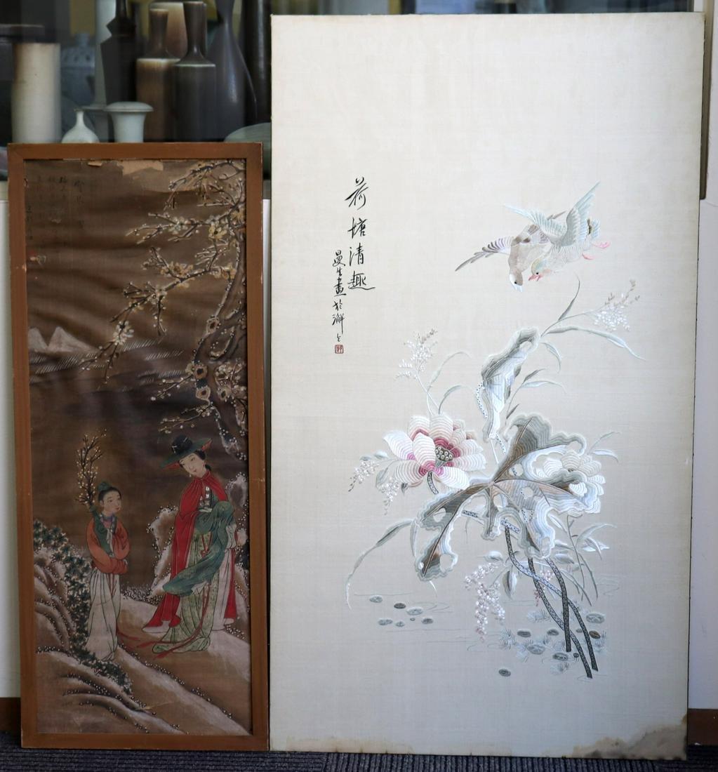 Chinese 19C Silk Lotus Embroidery; Silk Painting