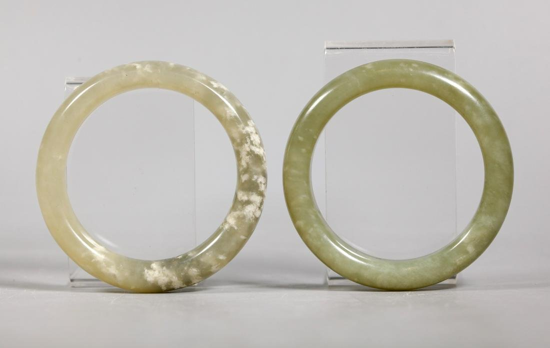 Pair Chinese Qing Dynasty Hardstone Bangles