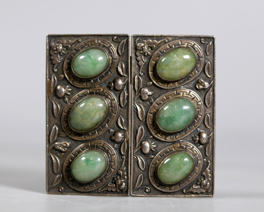 Chinese Qing Silver & Natural Jadeite Belt Buckle