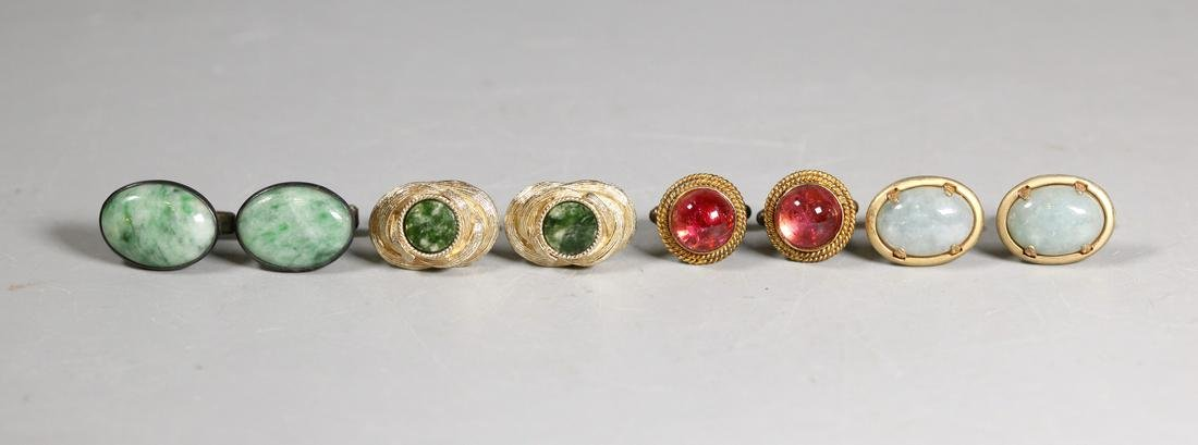 4 Pr Vintage Chinese Jadeite Tourmaline Cuff Links