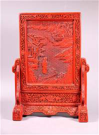Chinese Porcelain & Red Lacquer Table Screen