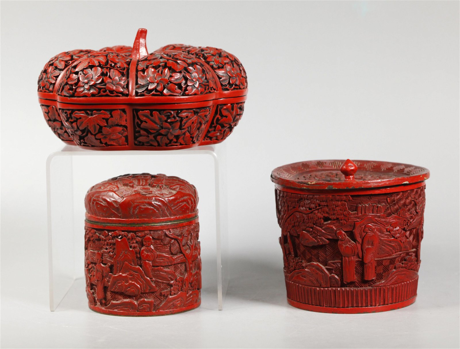 3 Chinese Red Cinnabar Lacquer Boxes