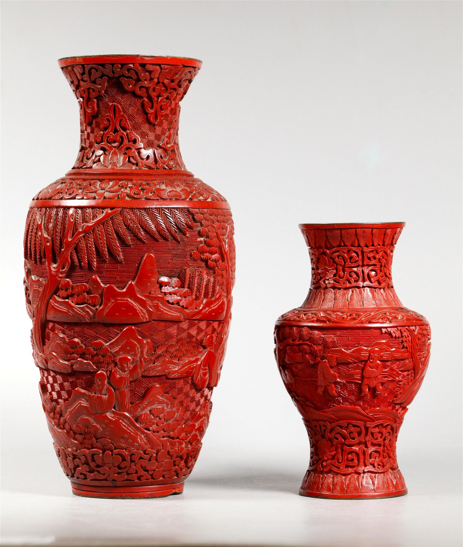 2 Chinese Carved Red Cinnabar Lacquer Vases