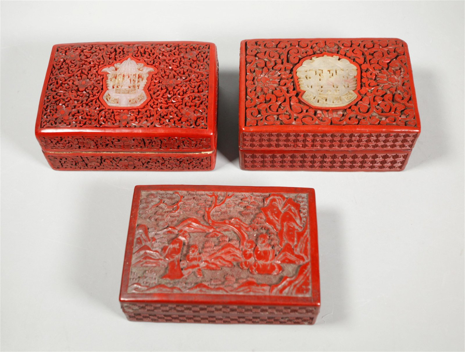 3 Chinese Carved Red Cinnabar Lacquer Boxes
