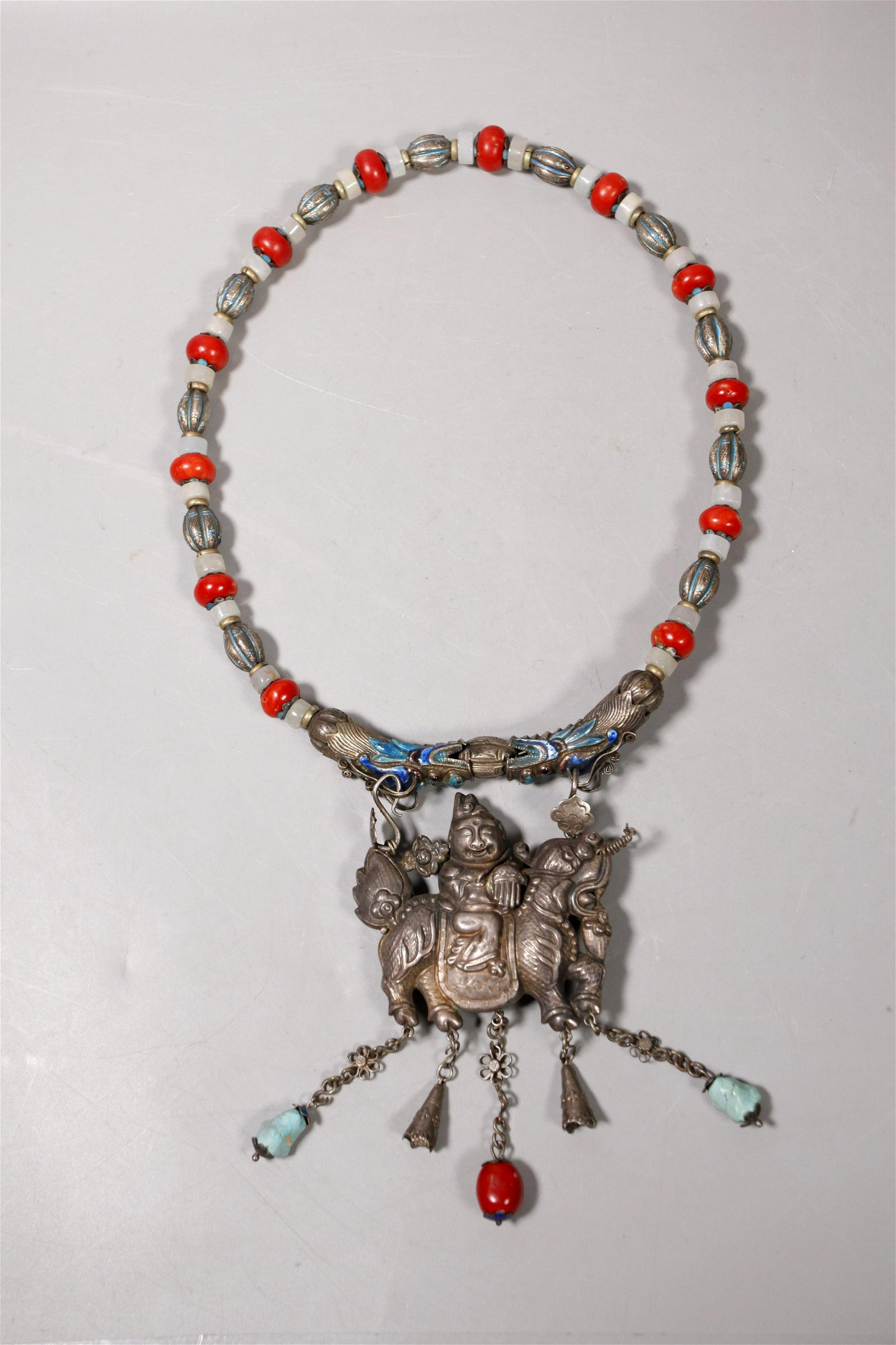 Chinese 19 C Silver Pendant & Bead Necklace
