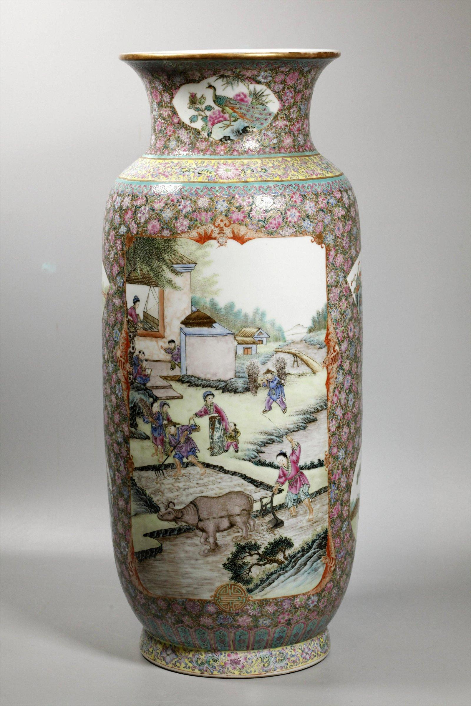 Chinese Jingdezhen Lg Enameled Porcelain Farm Vase