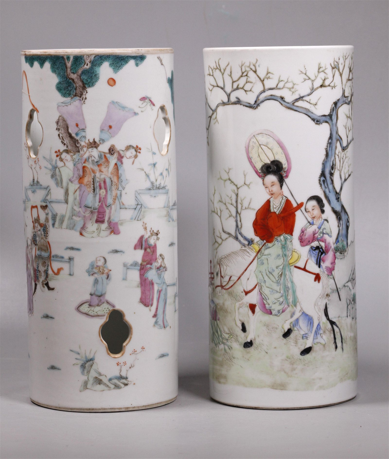 2 Chinese Qing Enameled Porcelain Hat Stands