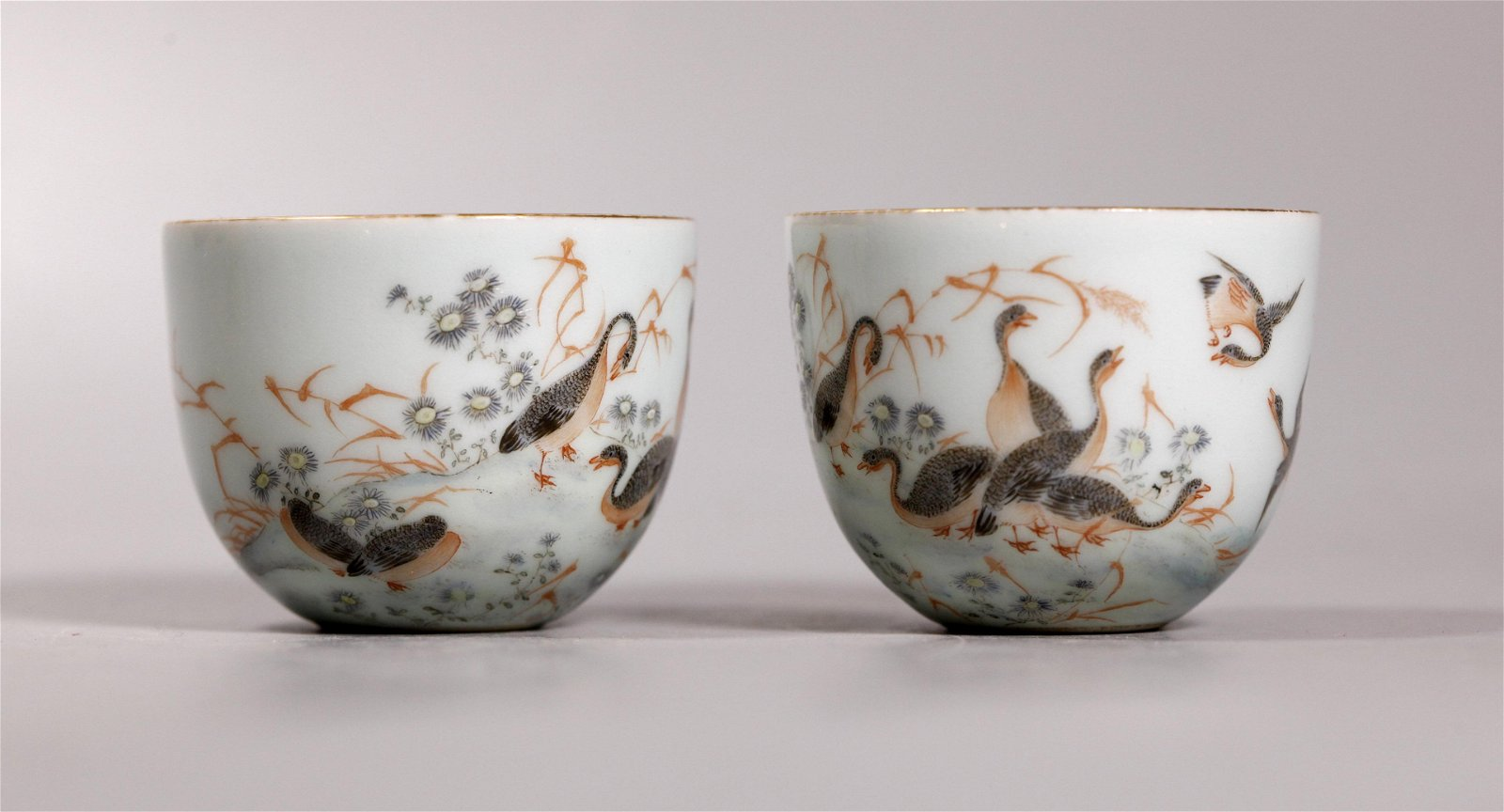Pair Chinese Enameled Goose Porcelain Cups