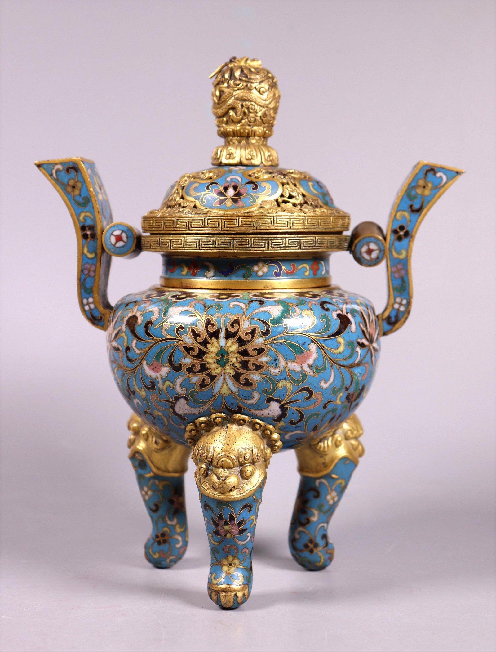 Chinese Cloisonne & Gilt Bronze Incense Burner