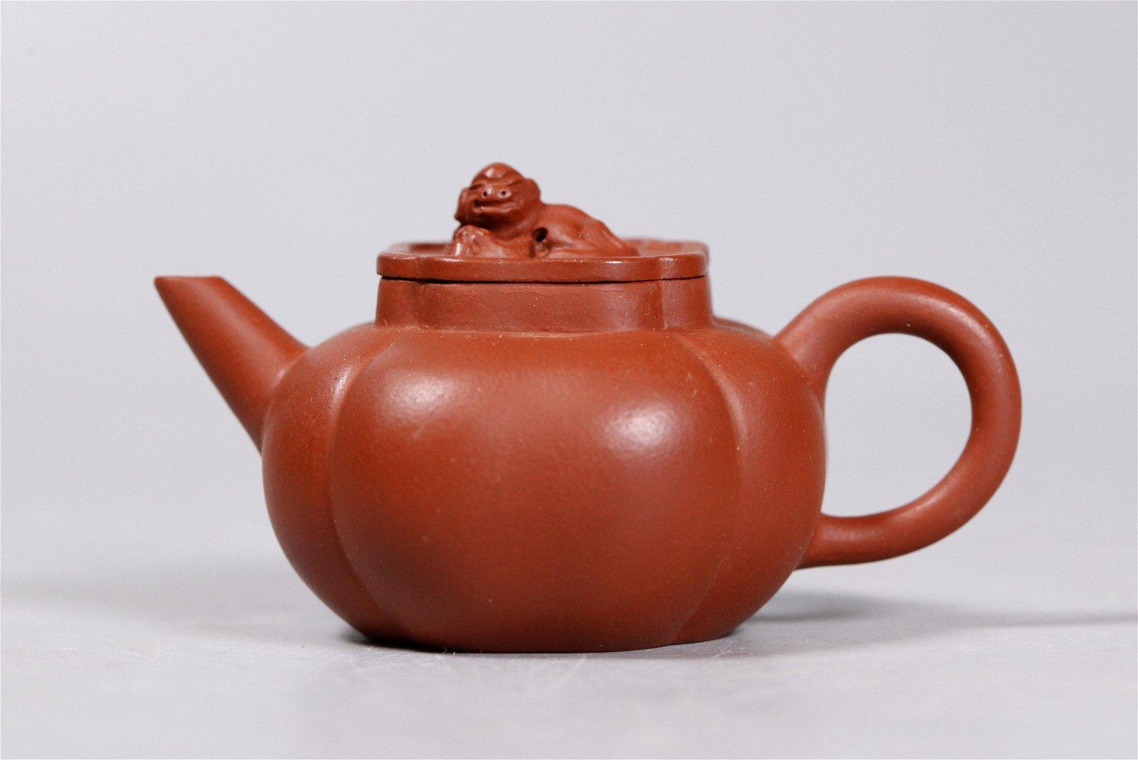 "Chinese Yixing Four-Lobed 3 1/4"" Teapot Dog Finial"