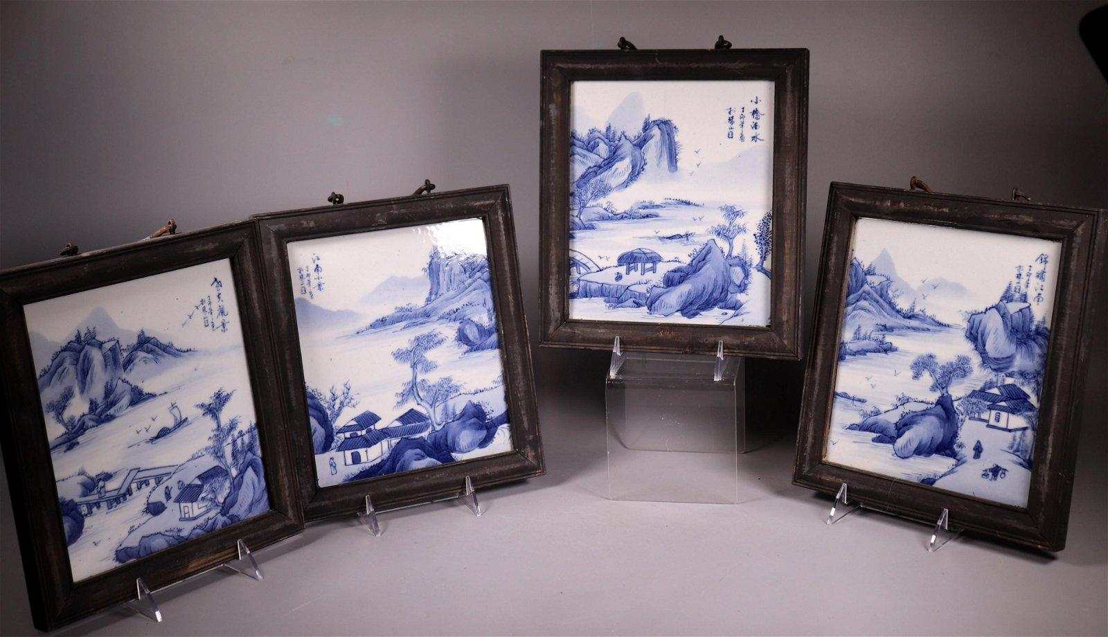 4 Chinese Blue & White Porcelain Landscape Plaques