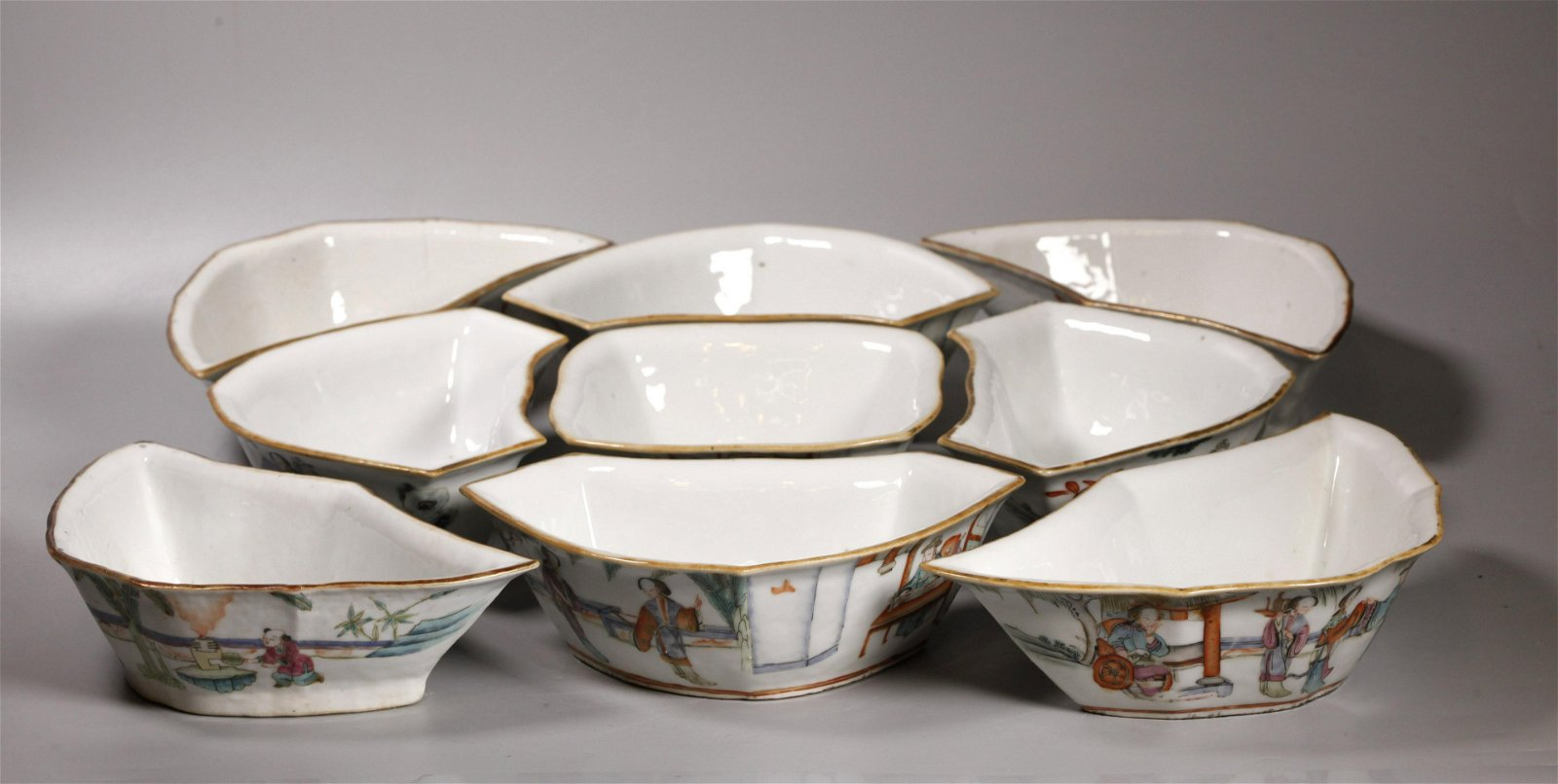 Chinese 19 C Enamel Nine Bowl Porcelain Dinner Set