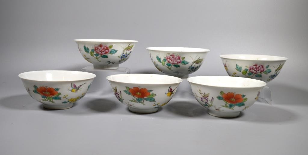 Fine Set 6 Chinese Fencai Enameled Porcelain Bowls