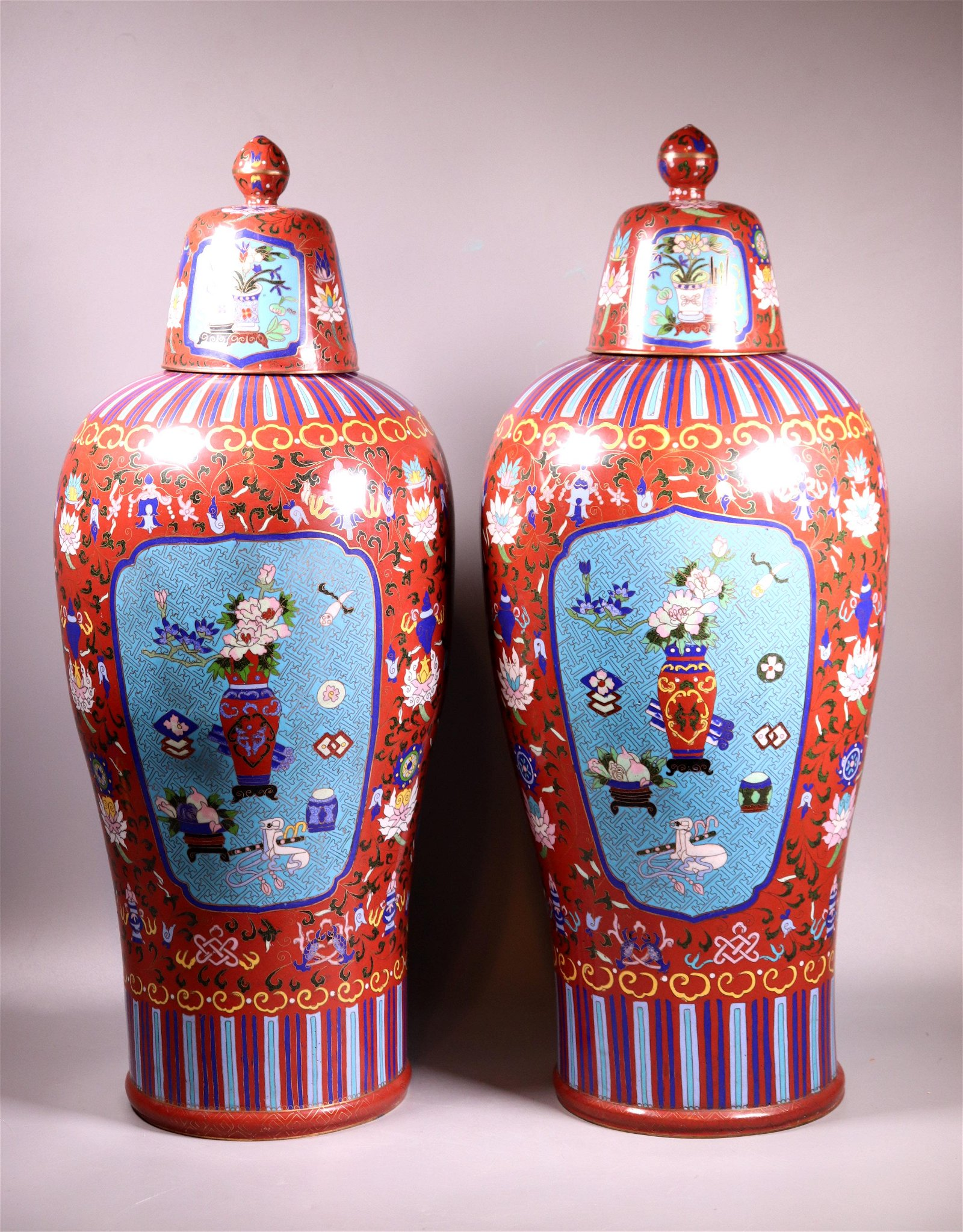 Pr Chinese Large Cloisonne Temple Vases & Covers
