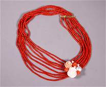 9 Strand Dark Coral Bead 18K Necklace with Roses