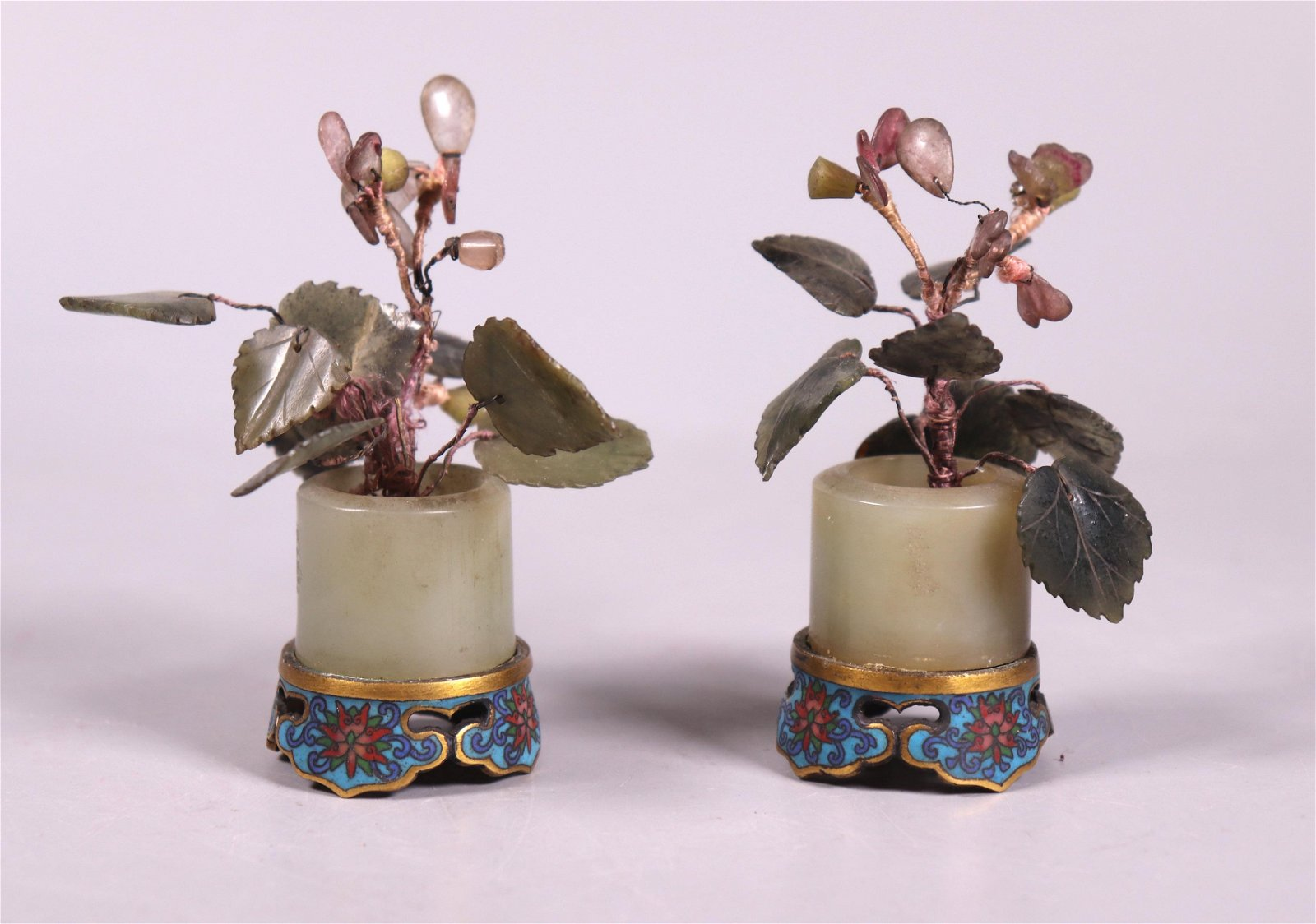2 Chinese Jade Flowers Archer