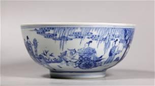 Chinese 17 C Kangxi Blue & White Porcelain Bowl