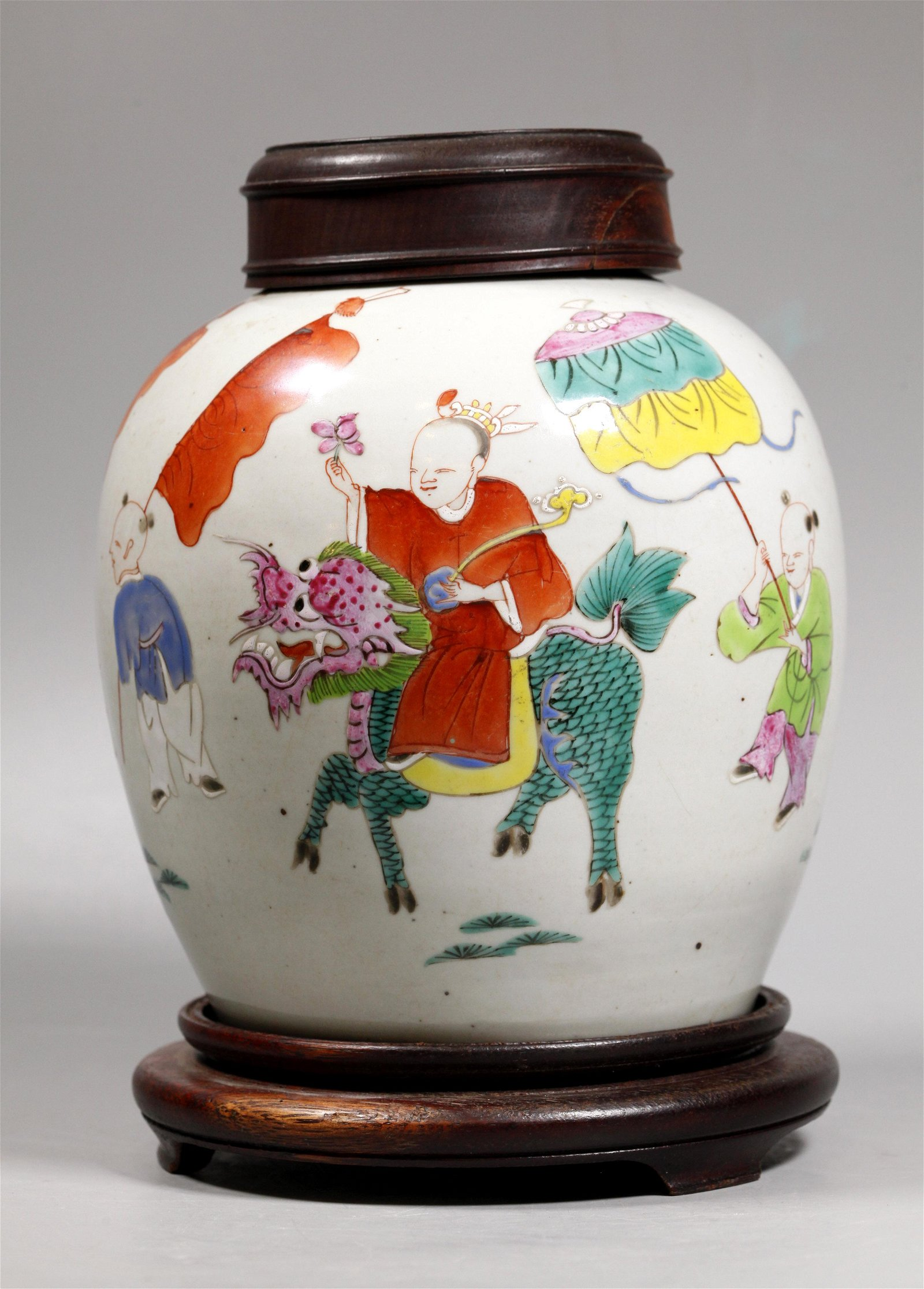 Chinese Early 18 C Famille Rose Porcelain Jar