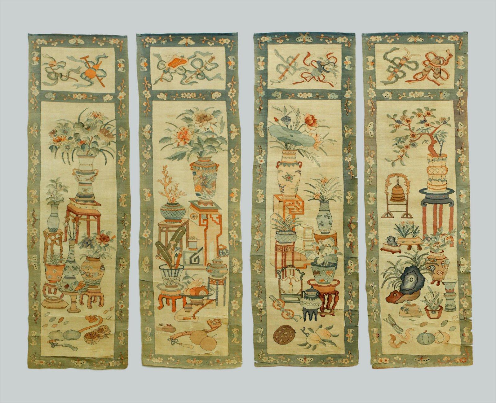 4 Chinese 18/19 C Silk Kesi Tapestries