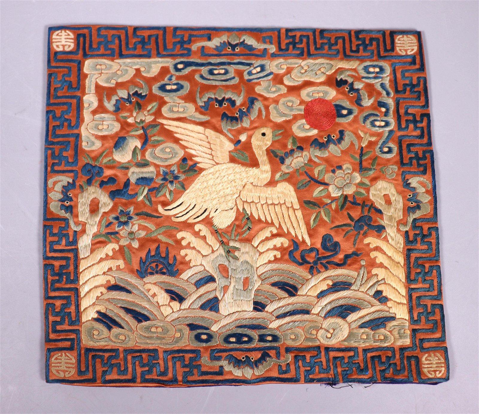 Chinese Qing Dynasty Silk Mandarin Rank Badge
