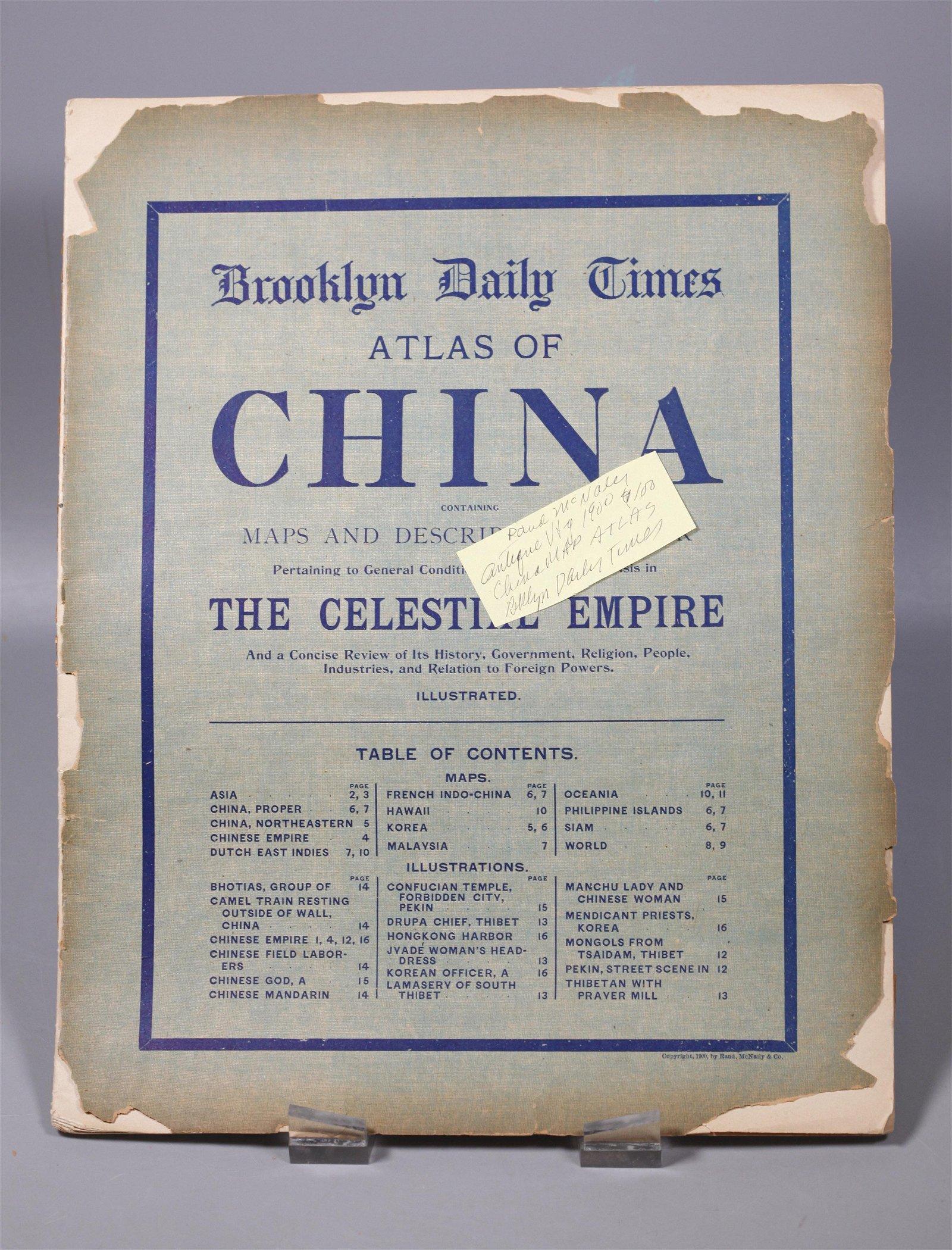 Rand McNally Chinese Atlas 1900 Bklyn Daily Times