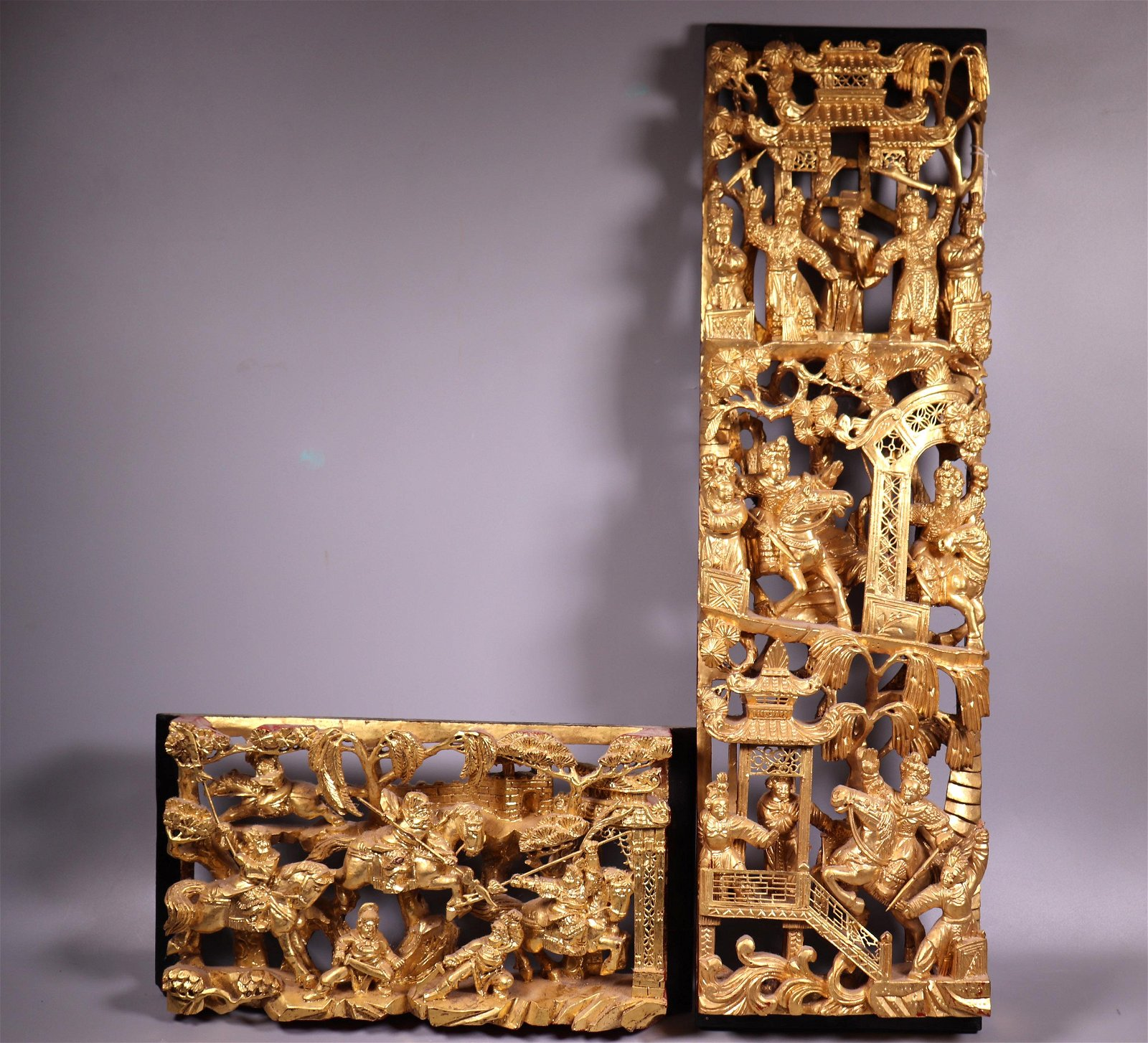 2 Chinese Gold Lacquer Carved Pierced Wood Panels