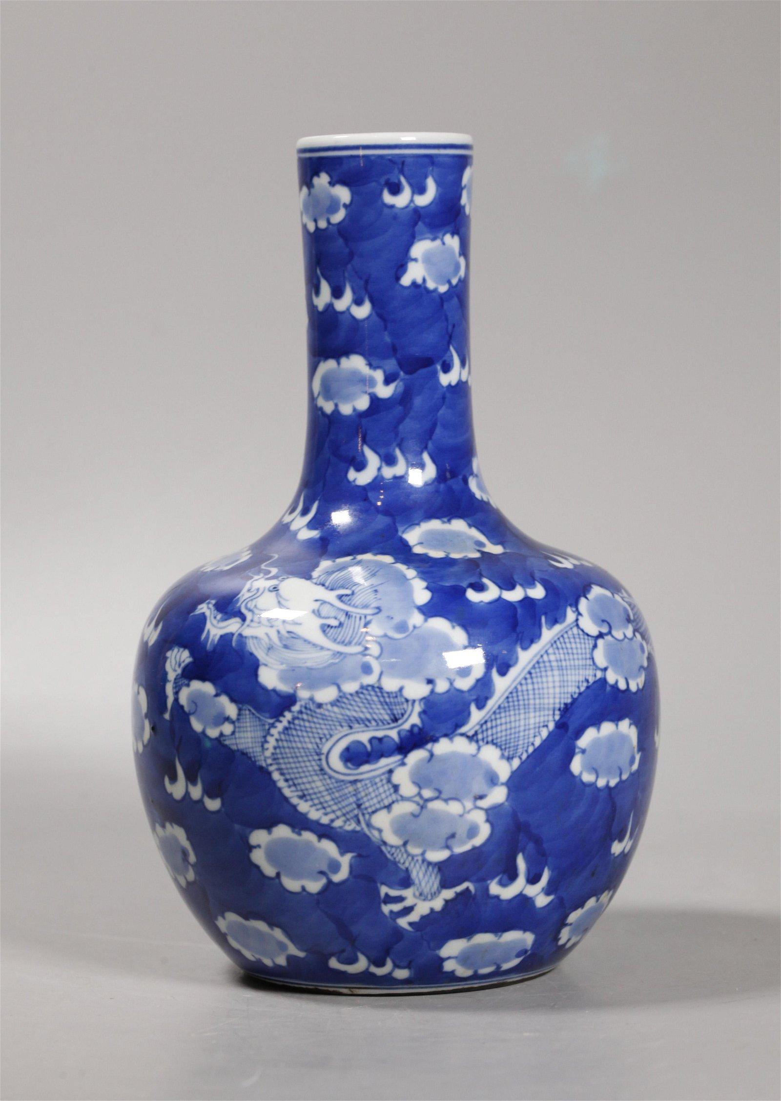 Chinese Blue & White Porcelain Dragon Bottle Vase