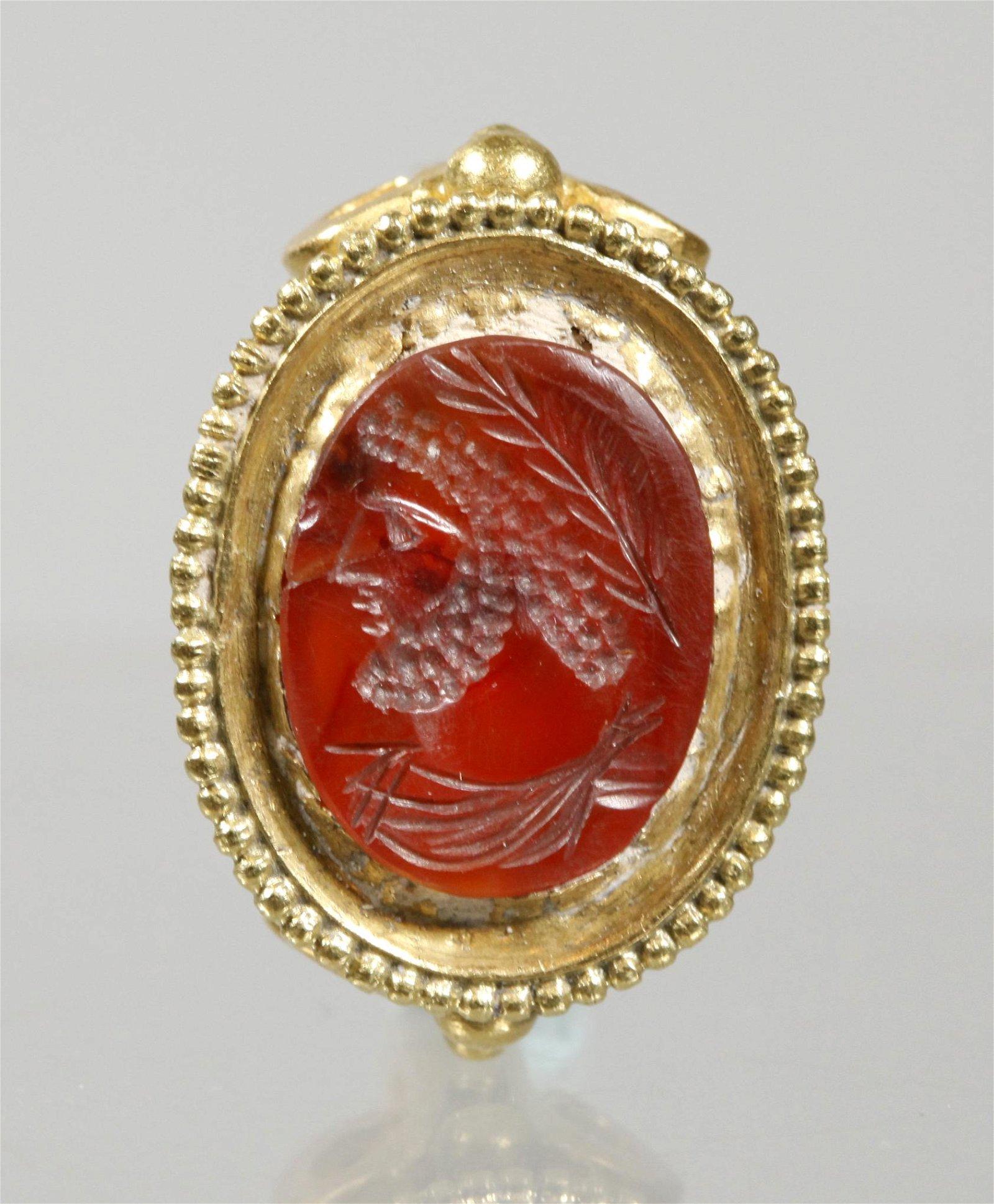 Byzantine Carnelian Zeus Head Intaglio 18K Ring