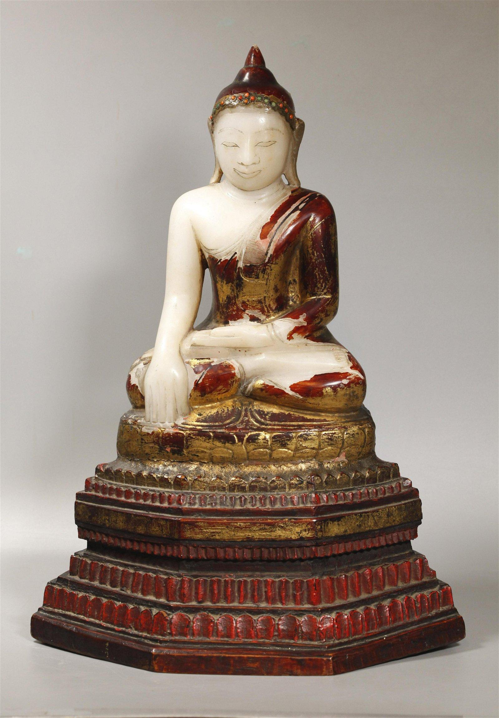Lg Thai White Soapstone Seated Buddha, Wood Stand