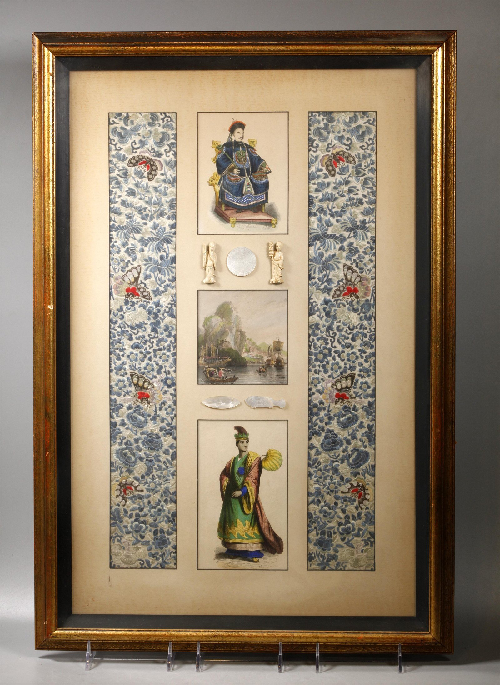 Chinese 19 C Embroidered Silk Borders & Etchings