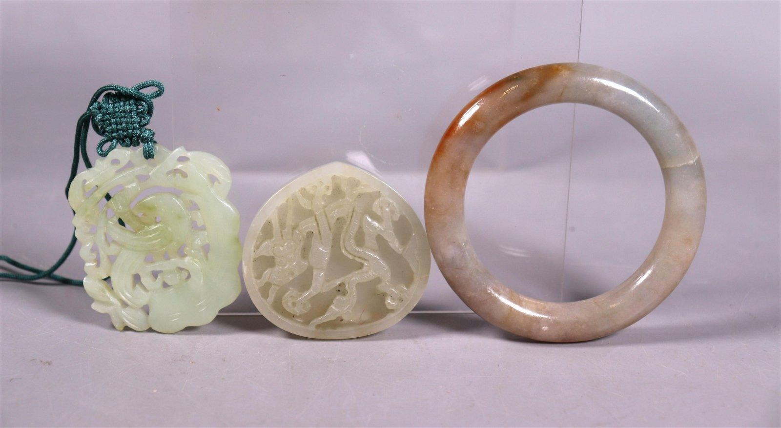 Chinese Jade Plaque Jadeite Bangle Bird Pendant