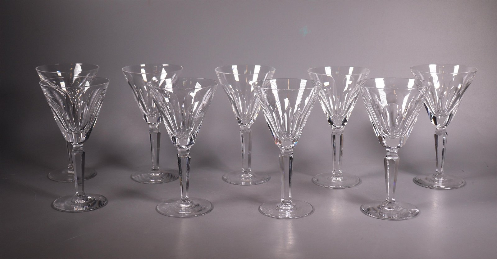 9 Sheila Pattern Waterford Crystal Wine Glasses