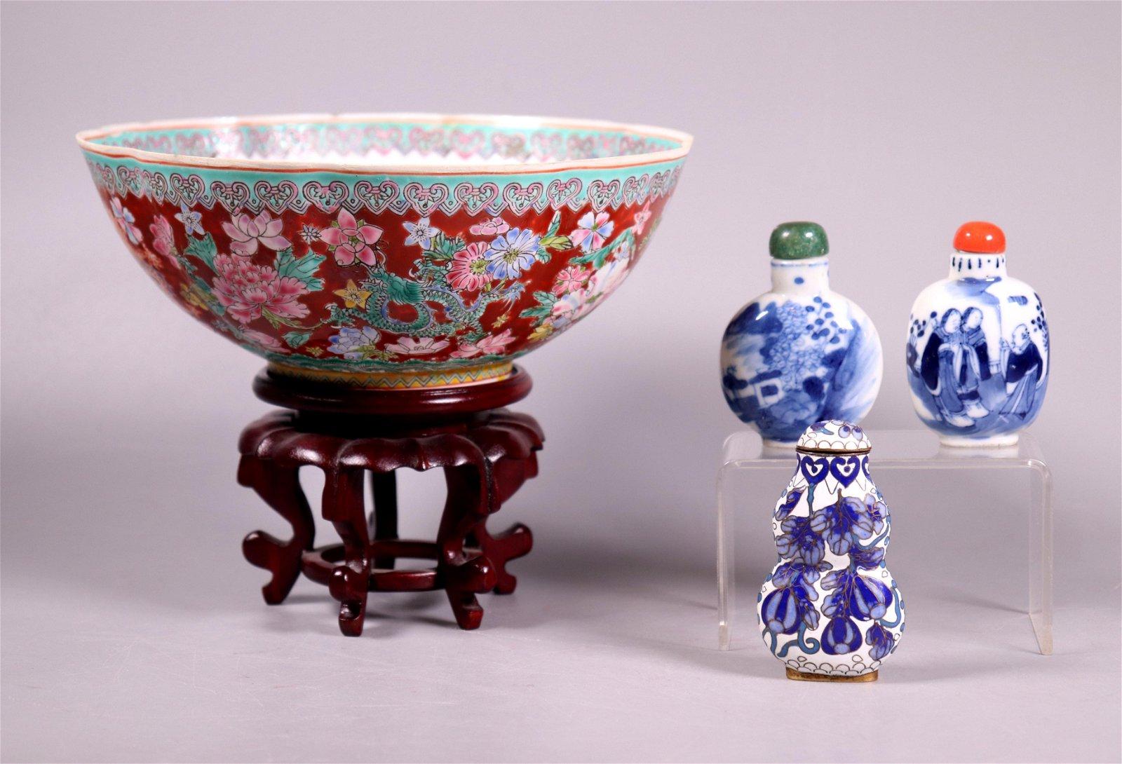 Chinese Snuffs 2 B & W Porcelain Cloisonne; & Bowl