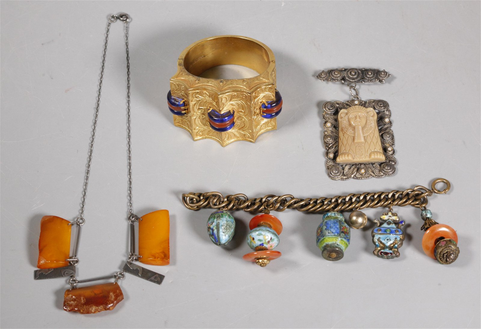 4 Chinese & Egyptian Jewelry Amber Enamel Gilt
