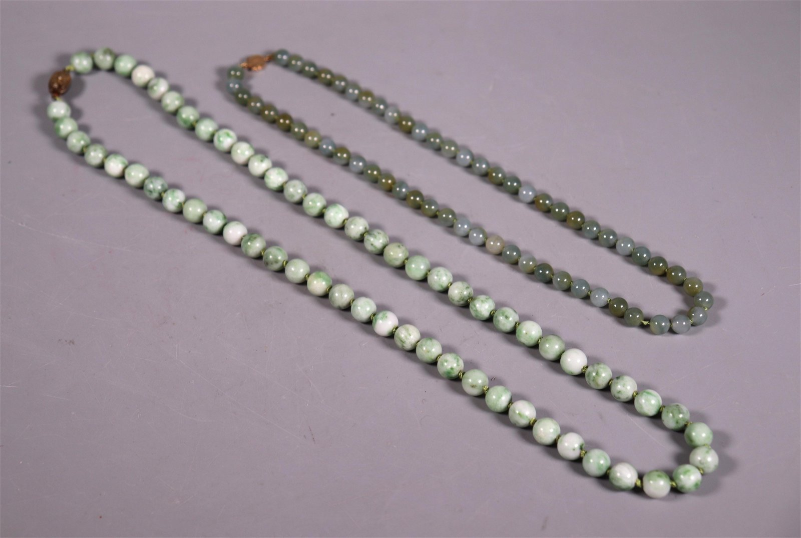 2 Chinese Natural Green Jadeite Bead Necklaces