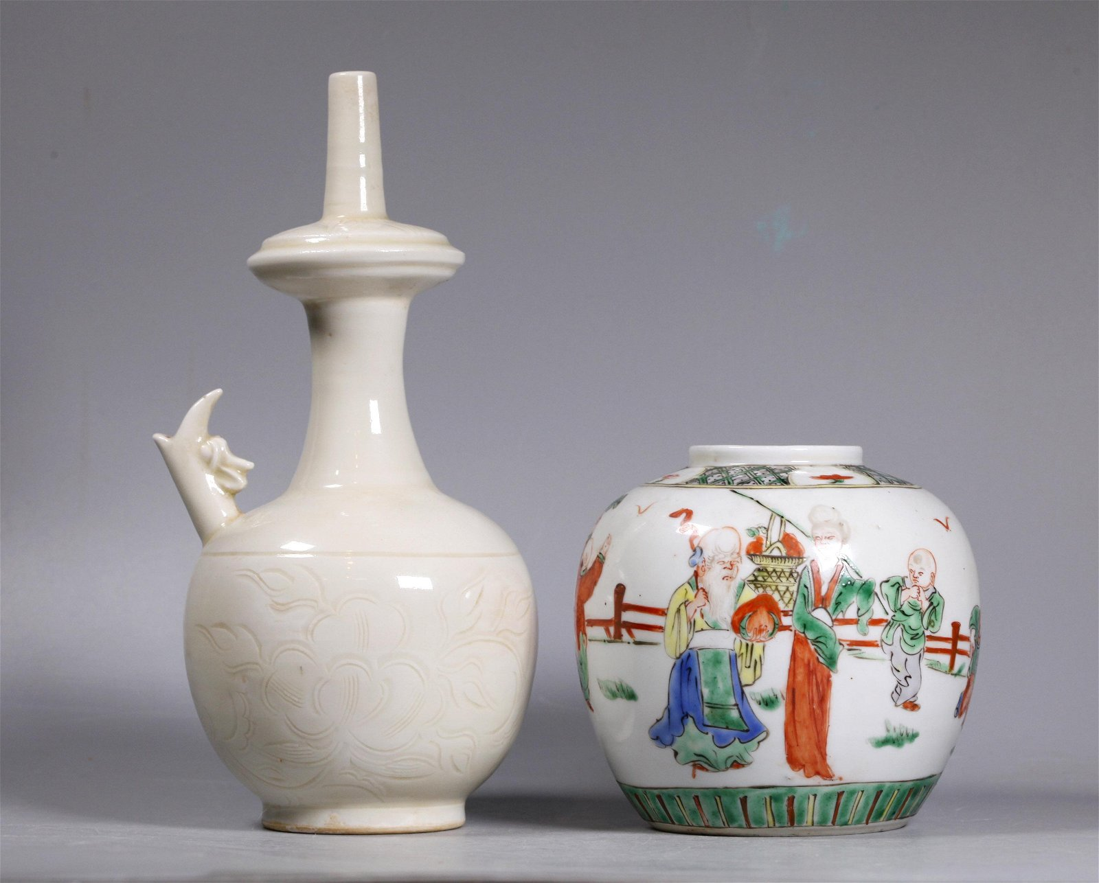 Chinese Dingyao Sprinkler; Enameled Porcelain Jar