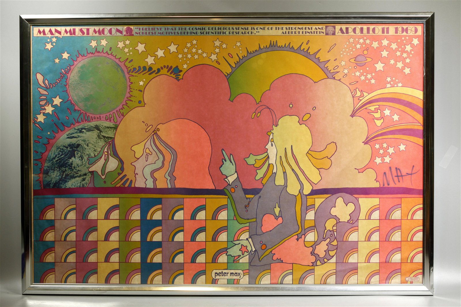 Peter Max 1969 Signed Litho Man Must Moon
