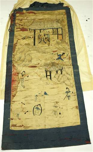 Chinese Qing Lg Embroidery Lohans & Immortals