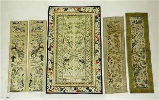 5 Chinese Qing Embroidered Sleeve Band Mats