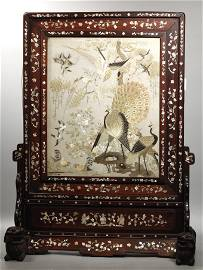 Chinese 19 C Hardwood & Embroidery Table Screen